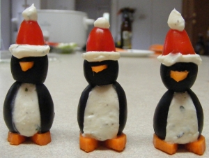 botanas en forma de pingüino