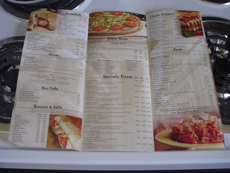 menú de restaurant
