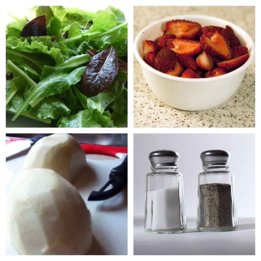 Ensalada de jícama y ensalada de fresa conarúgula