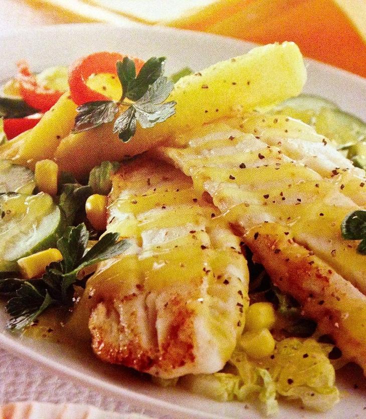 pescado en salsa de mango