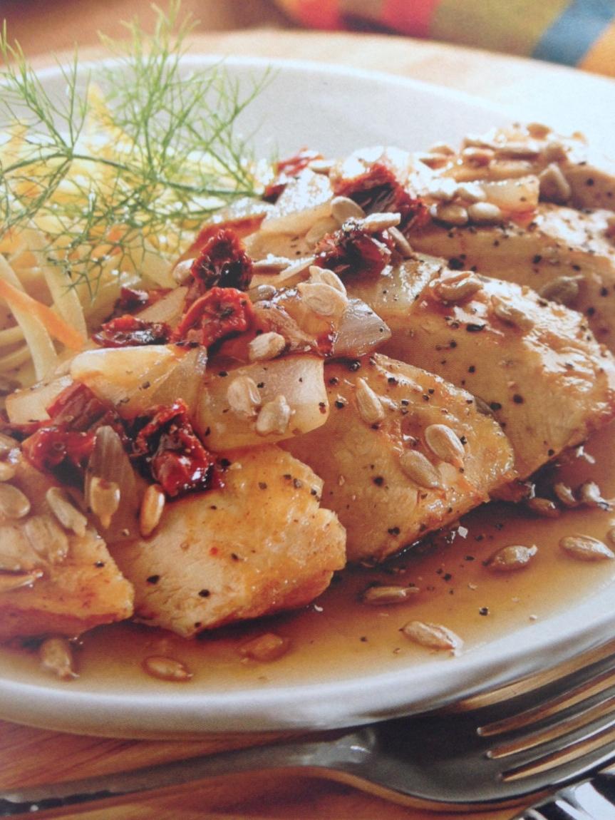 Pechugas de pollo en salsa de semillas degirasol