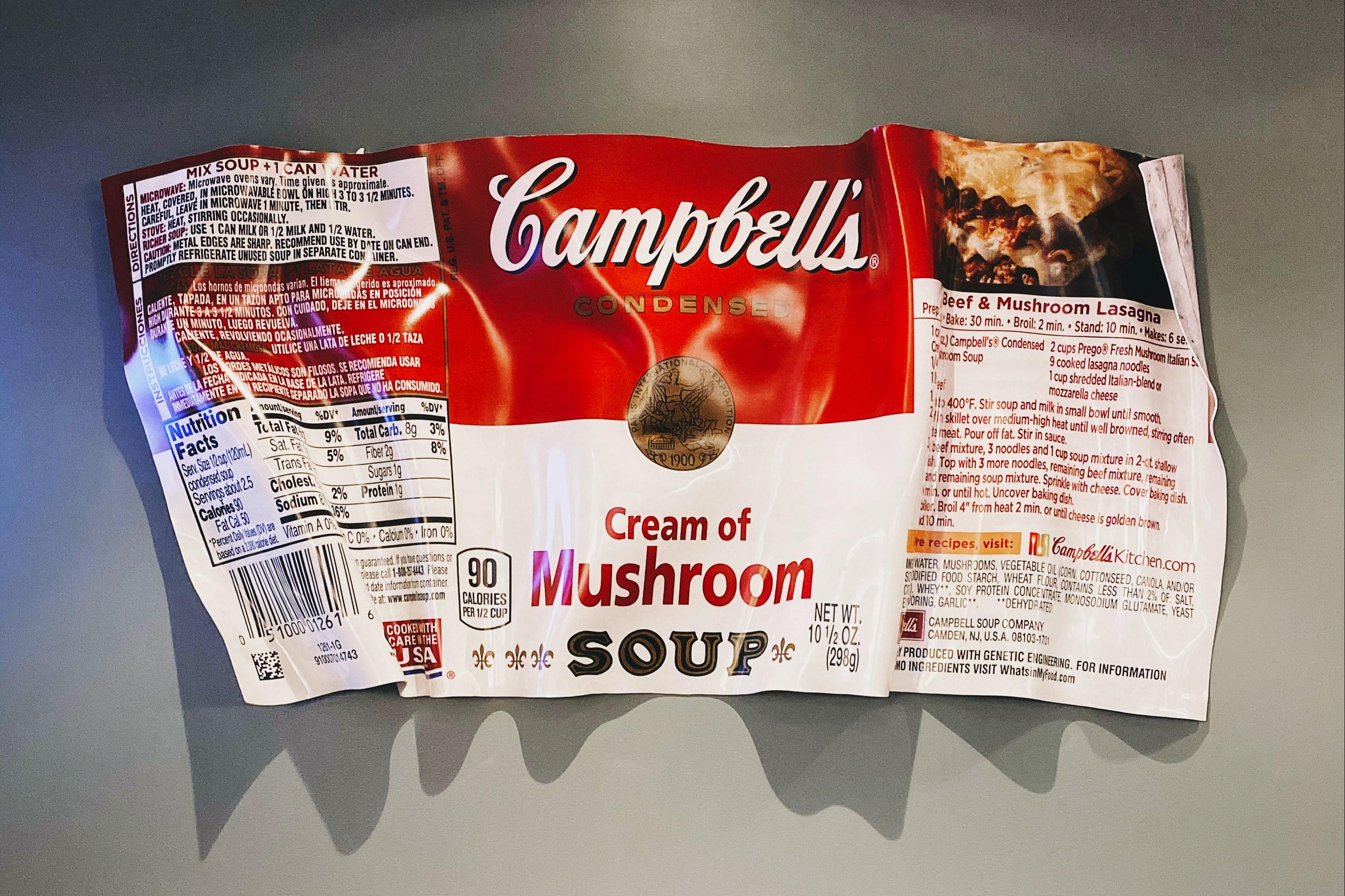 Etiqueta con información nutrimental de una sopa enlatada
