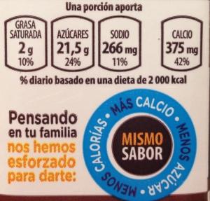 etiqueta frontal con información nutrimental