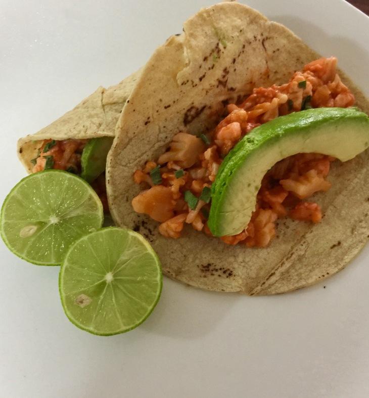 tacos vegetarianos de coliflor