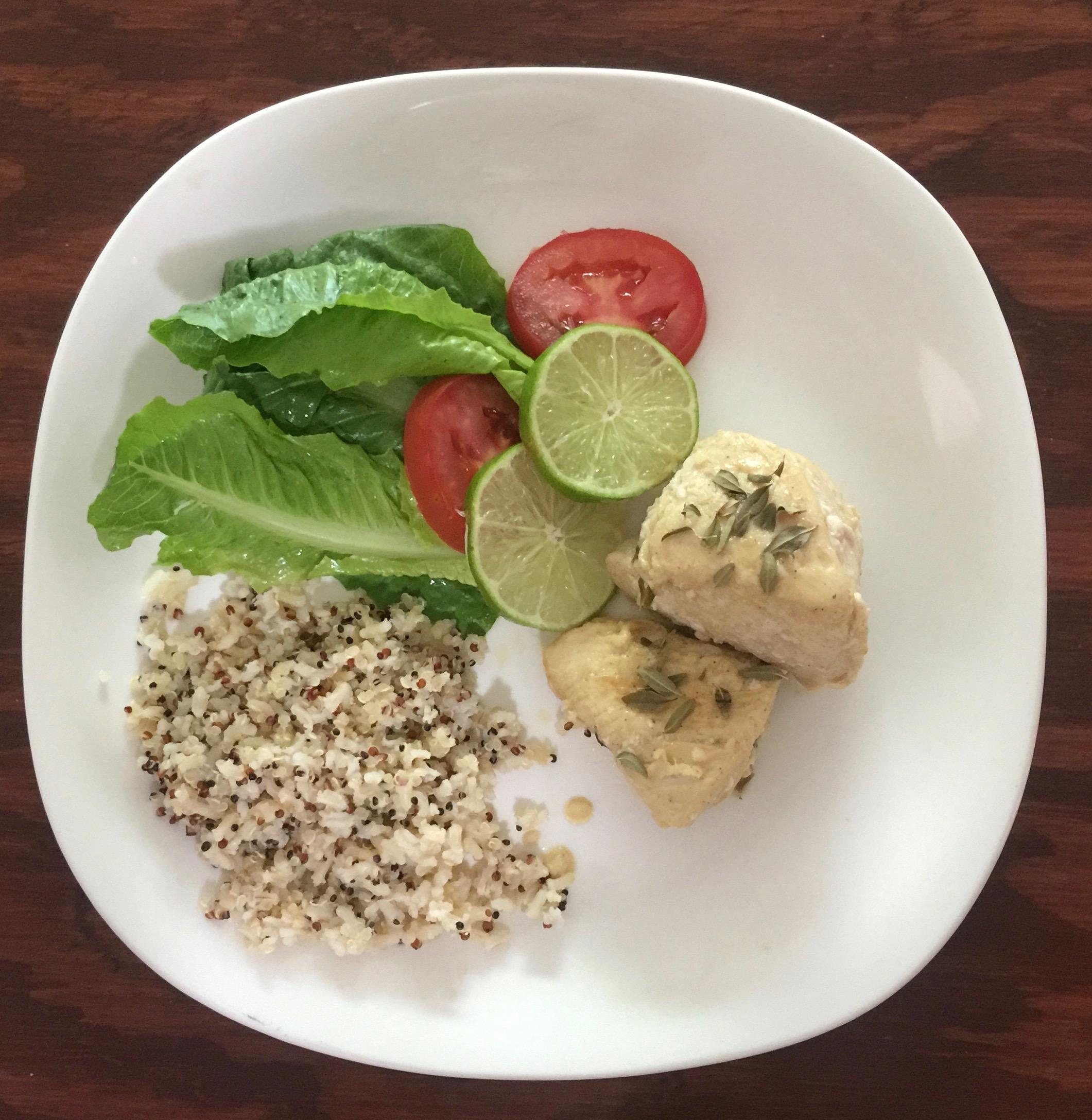 plato con pollo al limón y jengibre